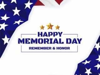 阵亡将士纪念日背景。美国国旗横幅与副本空间