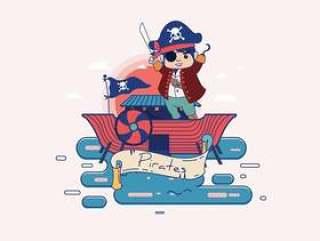 与字符传染媒介的海盗横幅