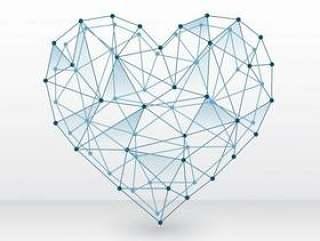 用连接的点在白色背景上的心