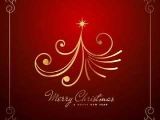 复古创意圣诞树设计中金颜色