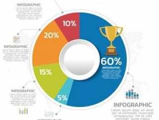 您的文件,报告,介绍和infographic的五颜六色的企业圆形统计图表。