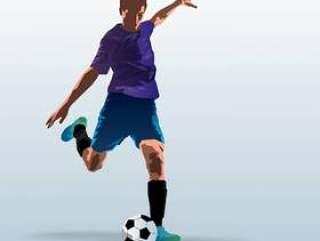 足球运动员踢球插图