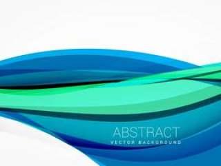 抽象的蓝色波浪背景设计插图