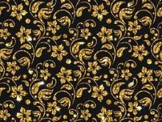 矢量无缝锦缎模式与鲜花。金色闪光模式设计。金花卉背景。