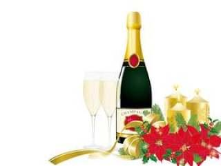 圣诞节安排红色_香槟_白色背景