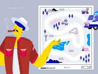 酷冒险家人开始与路线图导航矢量平面插画之旅