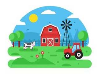 的农场场景矢量背景
