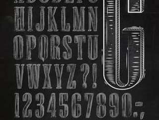 复古字体字母粉笔