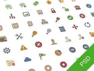 64 free PSD flat icons