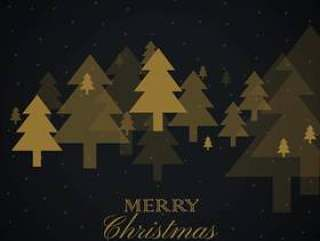 在黑色背景上的金色圣诞树设计