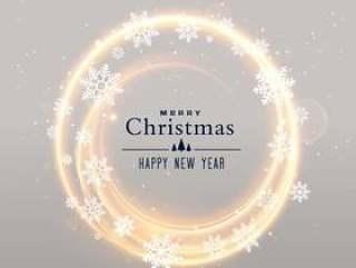闪亮的雪花和轻的框架圣诞节背景