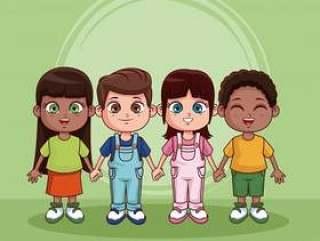 可爱和快乐的孩子卡通在彩色背景