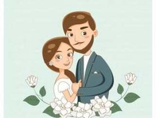 在婚礼邀请卡的逗人喜爱的浪漫夫妇