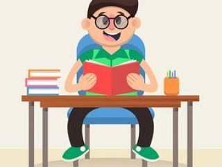 书桌前读书的男孩