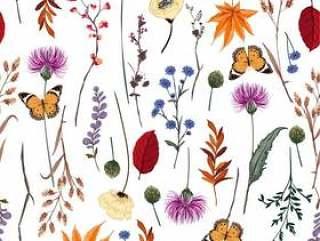 夏天传染媒介许多种野花无缝的样式