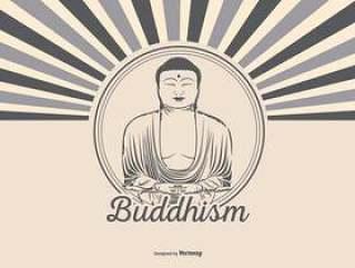 复古风格的佛教插图
