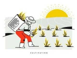 培养和种植水稻矢量插图的农民