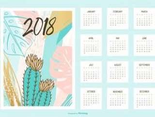 创意热带可打印日历2018年矢量
