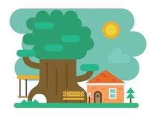 可爱的房子在绿地