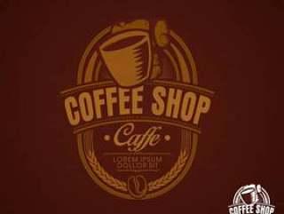 咖啡厅咖啡馆棕色复古徽标