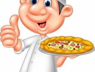 拿着薄饼和给赞许的动画片厨师