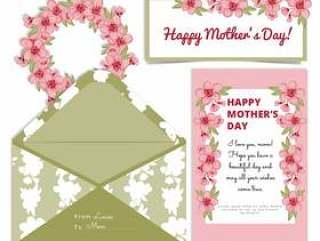 矢量母亲' s天樱桃花卡片和信封