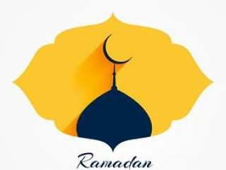 与月亮的清真寺上面为赖买丹月或eid节日