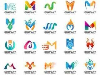 字母m标志集,业务标识图标,抽象字母m标志集合