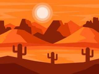 与仙人掌传染媒介的沙漠风景