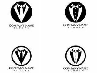 无尾礼服人徽标和符号黑色图标模板