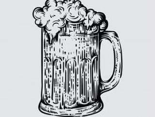 啤酒杯的例证在被刻记的样式的