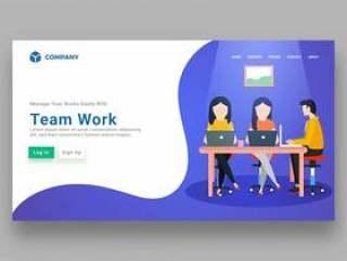 简约商务网站网页模板矢量素材下载