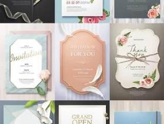 10款邀请函鲜花蝴蝶结现代花纹婚庆婚礼欧式边框底纹元素PSD设计素材