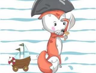 可爱的福克斯水手卡通手绘
