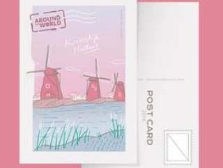 小孩堤防荷兰地标明信片矢量图