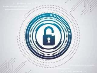 网络安全数字式白色背景电路互联网挂锁保护速度蓝色
