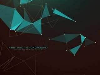 抽象的黑暗背景与三角形,点和线