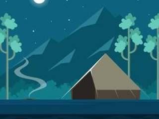 满月夜露营矢量