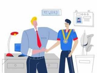 好老板奖励最好的员工矢量平面插画