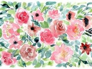 桃红色红色绿色花卉水彩背景