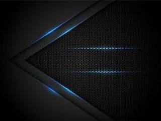 在黑色的蓝色轻的箭头有六角形滤网背景。