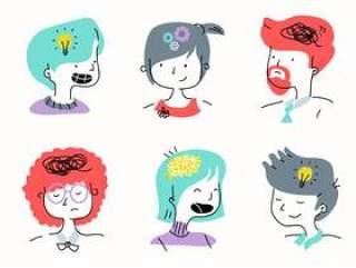 人心智情感人物卡通矢量图