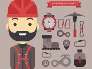 材料设计和图标设备为Rappel,徒步旅行和户外运动