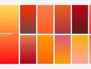明亮的橙色秋天颜色渐变设置