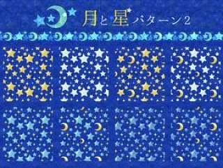 水彩月亮和星星图案2