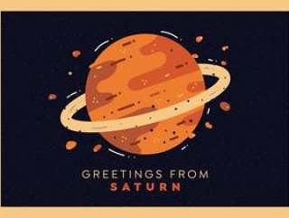土星行星明信片矢量
