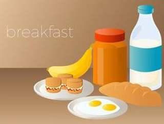 烤饼和蛋早餐矢量