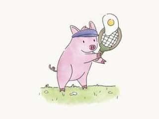 打网球用煎蛋的猪