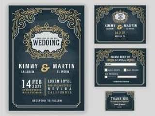 优雅的复古和豪华的婚礼请柬