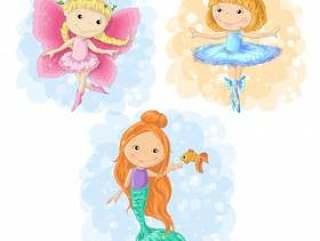 Lovely cartoon girl butterfly, ballerina and a mermaid.